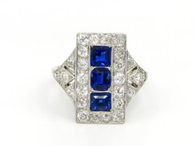 18 and 14 Karat White Gold Diamond and Sapphire Art Deco Dinner Ring