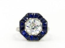 Platinum & 18 Karat White Gold Art Deco 2.67 Carat Old European Cut Diamond Ring with Sapphire Halo