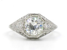 Platinum Edwardian 1.29 Carat Old European Cut Diamond Filigree Ring