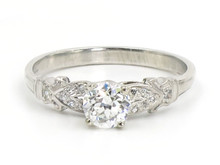 Platinum Edwardian 0.57 Carat Old European Cut Diamond Engagement Ring