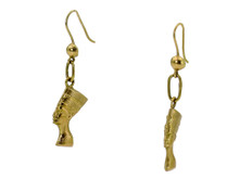 18 Karat Yellow Gold Egyptian Head Earrings