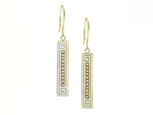14 Karat Yellow Gold, Pearl and White Enamel Earrings