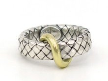 Sterling Silver Woven Ring with Gold Swirl
