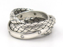 Woven Sterling Silver Rolling Ring with Diamond Accents