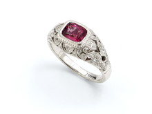 18 Karat White Gold Magenta Spinel Edwardian Style Ring