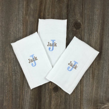 3 Burp Pads with 1st Initial & Name