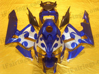 Honda CBR600RR 2005 2006 blue and white fairing kits, this Honda CBR600RR 2005 2006 plastics was applied in blue and whitegraphics, this 2005 2006 CBR600RR fairing set comes with the both color and decals shown as the photo.If you want to do custom fairings for CBR600RR 2005 2006,our talented airbrusher will custom it for you