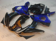 Yamaha YZF-R6 2003 2004 2005 black and blue fairing kits, this Yamaha YZF-R6 2003 2004 2005 plastics was applied in black and bluegraphics, this 2003 2004 2005 YZF-R6 fairing set comes with the both color and decals shown as the photo.If you want to do custom fairings for YZF-R6 2003 2004 2005,our talented airbrusher will custom it for you.