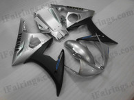 OEM quality fairings and body kits for 2003 2004 2005 Yamaha YZF-R6 with silver and black color scheme/graphics, these fairing kits are oem quality, fast shipping and easy installtion. More factory color-matched fairings for YZF-R6 2003 2004 2005, team race replica fairings and custom fairing sets for Yamaha YZF-R6 2003 2004 2005, please browse iFairings.com.