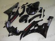 Yamaha YZF-R6 2006 2007 black fairing kits, this Yamaha YZF-R6 2006 2007 plastics was applied in blackgraphics, this 2006 2007 YZF-R6 fairing set comes with the both color and decals shown as the photo.If you want to do custom fairings for YZF-R6 2006 2007,our talented airbrusher will custom it for you.