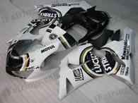 2005 2006 Kawasaki ZX6R Ninja white and black Lucky Strike fairing kits - iFairings.com