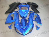 Kawasaki ZX6R 636 2005 2006 candy blue and black fairing kits, this Kawasaki ZX6R 636 2005 2006 plastics was applied in candy blue and blackgraphics, this 2005 2006 ZX6R 636 fairing set comes with the both color and decals shown as the photo.If you want to do custom fairings for ZX6R 636 2005 2006,our talented airbrusher will custom it for you.