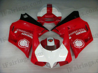 Ducati 748/916/996/998 white,red and black fairing kits, this Ducati 748/916/996/998 replacement fairing was applied in white,red and black graphics, this Ducati 748/916/996/998 fairing set comes with the both color and decals shown as the photo. If you want to do custom fairings for Ducati 748/916/996/998,our talented airbrusher will custom it for you.