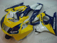 Honda CBR600 F3 1995 1996 yellow/blue fairing kits, 1995 1996 Honda CBR600 F3 yellow/blue plastic.This Honda CBR600 F3 1995 1996 fairing kits was applied in yellow/blue graphics, this 1995 1996 CBR600 fairing set comes with the both color and decals shown as the photo.If you want to do custom fairings for CBR600 F3 1995 1996,our talented airbrusher will custom it for you.