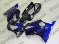 Honda CBR600 F4 1999 2000 blue flame fairing kits, 1999 2000 Honda CBR600 F4 blue flame plastic.This Honda CBR600 F4 1999 2000 fairing kits was applied in blue flame graphics, this 1999 2000 CBR600 fairing set comes with the both color and decals shown as the photo.If you want to do custom fairings for CBR600 F4 1999 2000,our talented airbrusher will custom it for you.