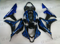 Honda CBR600RR 2007 2008 red flame fairing kits, this Honda CBR600RR 2007 2008 plastics was applied in red flamegraphics, this 2007 2008 CBR600RR fairing set comes with the both color and decals shown as the photo.If you want to do custom fairings for CBR600RR 2007 2008,our talented airbrusher will custom it for you.