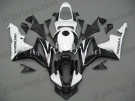 Honda CBR600RR 2007 2008 white and black fairing kits, this Honda CBR600RR 2007 2008 plastics was applied in white and blackgraphics, this 2007 2008 CBR600RR fairing set comes with the both color and decals shown as the photo.If you want to do custom fairings for CBR600RR 2007 2008,our talented airbrusher will custom it for you.