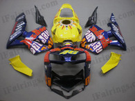Honda CBR600RR 2005 2006 Rossi purple/yellowfairing kits, this Honda CBR600RR 2005 2006 plastics was applied in Rossi purple/yellowgraphics, this 2005 2006 CBR600RR fairing set comes with the both color and decals shown as the photo.If you want to do custom fairings for CBR600RR 2005 2006,our talented airbrusher will custom it for you.