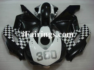 Honda CBR1000RR 2004 2005 custom white/black fairing kits, this Honda CBR1000RR 2004 2005 plastics was applied in custom white/blackgraphics, this 2004 2005 CBR1000RR fairing set comes with the both color and decals shown as the photo.If you want to do custom fairings for CBR1000RR 2004 2005,our talented airbrusher will custom it for you.