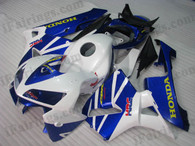 Honda CBR600RR 2005 2006 white and bluefairing kits, this Honda CBR600RR 2005 2006 plastics was applied in white and bluegraphics, this 2005 2006 CBR600RR fairing set comes with the both color and decals shown as the photo.If you want to do custom fairings for CBR600RR 2005 2006,our talented airbrusher will custom it for you