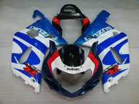 Suzuki GSXR600/750 2001 2002 2003 blue and white fairing kits, this Suzuki GSXR600/750 2001 2002 2003 plastics was applied in blue and white graphics, this 2001 2002 2003 GSXR600/750 fairing set comes with the both color and decals shown as the photo.If you want to do custom fairings for GSXR600/750 2001 2002 2003,our talented airbrusher will custom it for you.