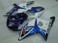 OEM quality fairings and body kits for 2001 2002 2003 Suzuki GSXR600/750 with blue and black color scheme/graphics, these fairing kits are oem quality, fast shipping and easy installtion. More factory color-matched fairings for GSXR600/750 2001 2002 2003, team race replica fairings and custom fairing sets for Suzuki GSXR600/750 2001 2002 2003, please browse iFairings.com.