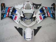 Suzuki GSXR600/750 2001 2002 2003 white/blue/black fairing kits, this Suzuki GSXR600/750 2001 2002 2003 plastics was applied in white/blue/black graphics, this 2001 2002 2003 GSXR600/750 fairing set comes with the both color and decals shown as the photo.If you want to do custom fairings for GSXR600/750 2001 2002 2003,our talented airbrusher will custom it for you.