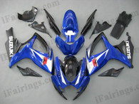 Suzuki GSXR600/750 2006 2007 blue and black fairing kits, this Suzuki GSXR600/750 2006 2007 plastics was applied in blue and black graphics, this 2006 2007 GSXR600/750 fairing set comes with the both color and decals shown as the photo.If you want to do custom fairings for GSXR600/750 2006 2007,our talented airbrusher will custom it for you.