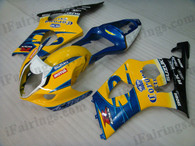 Suzuki GSXR1000 2003 2004 Corona Extra fairing kits, this Suzuki GSXR1000 2003 2004 plastics was applied in Corona Extra graphics, this 2003 2004 GSXR1000 fairing set comes with the both color and decals shown as the photo.If you want to do custom fairings for GSXR1000 2003 2004,our talented airbrusher will custom it for you.