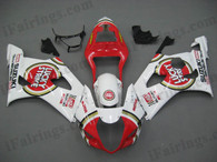 Suzuki GSXR1000 2003 2004 Lucky Strike fairing kits, this Suzuki GSXR1000 2003 2004 plastics was applied in Lucky Strike graphics, this 2003 2004 GSXR1000 fairing set comes with the both color and decals shown as the photo.If you want to do custom fairings for GSXR1000 2003 2004,our talented airbrusher will custom it for you.