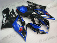 Suzuki GSXR1000 2005 2006 blue/black fairing kits, this Suzuki GSXR1000 2005 2006 plastics was applied in blue/black graphics, this 2005 2006 GSXR1000 fairing set comes with the both color and decals shown as the photo.If you want to do custom fairings for GSXR1000 2005 2006,our talented airbrusher will custom it for you.