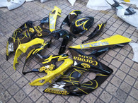 Suzuki GSXR1000 2005 2006 yellow corona fairing kits, this Suzuki GSXR1000 2005 2006 plastics was applied in yellow corona graphics, this 2005 2006 GSXR1000 fairing set comes with the both color and decals shown as the photo.If you want to do custom fairings for GSXR1000 2005 2006,our talented airbrusher will custom it for you.