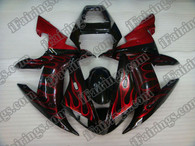 Yamaha YZF-R1 2002 2003 red flame fairing kits, this Yamaha YZF-R1 2002 2003 plastics was applied in red flamegraphics, this 2002 2003 YZF-R1 fairing set comes with the both color and decals shown as the photo.If you want to do custom fairings for YZF-R1 2002 2003,our talented airbrusher will custom it for you.