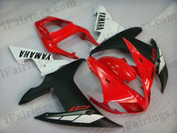 Yamaha YZF-R1 2002 2003 red/white/black fairing kits, this Yamaha YZF-R1 2002 2003 plastics was applied in red/white/black graphics, this 2002 2003 YZF-R1 fairing set comes with the both color and decals shown as the photo.If you want to do custom fairings for YZF-R1 2002 2003,our talented airbrusher will custom it for you.