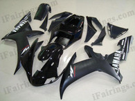 Yamaha YZF-R1 2002 2003 black fairing kits, this Yamaha YZF-R1 2002 2003 plastics was applied in black graphics, this 2002 2003 YZF-R1 fairing set comes with the both color and decals shown as the photo.If you want to do custom fairings for YZF-R1 2002 2003,our talented airbrusher will custom it for you.