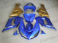 Kawasaki ZX6R 636 2005 2006 blue/gold fairing kits, this Kawasaki ZX6R 636 2005 2006 plastics was applied in blue/goldgraphics, this 2005 2006 ZX6R 636 fairing set comes with the both color and decals shown as the photo.If you want to do custom fairings for ZX6R 636 2005 2006,our talented airbrusher will custom it for you