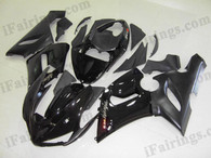 Kawasaki ZX6R 636 2005 2006 glossy black and black fairing kits, this Kawasaki ZX6R 636 2005 2006 plastics was applied in glossy black and blackgraphics, this 2005 2006 ZX6R 636 fairing set comes with the both color and decals shown as the photo.If you want to do custom fairings for ZX6R 636 2005 2006,our talented airbrusher will custom it for you.
