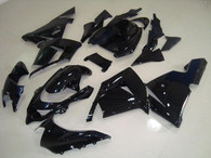 Kawasaki ZX10R 2004 2005 glossy black fairing kits, this Kawasaki ZX10R 2004 2005 plastics was applied in glossy blackgraphics, this 2004 2005 ZX10R fairing set comes with the both color and decals shown as the photo.If you want to do custom fairings for ZX10R 2004 2005,our talented airbrusher will custom it for you.