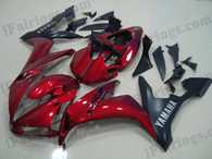 Yamaha YZF-R1 2004 2005 2006 candy red/matt black fairing kits, this Yamaha YZF-R1 2004 2005 2006 plastics was applied in candy red/matt blackgraphics, this 2004 2005 2006 YZF-R1 fairing set comes with the both color and decals shown as the photo.If you want to do custom fairings for YZF-R1 2004 2005 2006,our talented airbrusher will custom it for you.