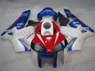 Honda CBR600RR 2005 2006 red,white and blue fairing kits, this Honda CBR600RR 2005 2006 plastics was applied in red,white and blue graphics, this 2005 2006 CBR600RR fairing set comes with the both color and decals shown as the photo.If you want to do custom fairings for CBR600RR 2005 2006,our talented airbrusher will custom it for you