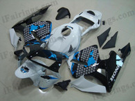 Honda CBR600RR 2003 2004 Honda Limited Edition fairing kits, this Honda CBR600RR 2003 2004 plastics was applied in Honda Limited Edition graphics, this 2003 2004 CBR600RR fairing set comes with the both color and decals shown as the photo.If you want to do custom fairings for CBR600RR 2003 2004,our talented airbrusher will custom it for you.
