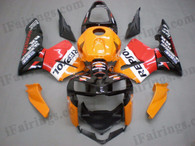 Honda CBR600RR 2005 2006 repsol replica fairing kits, this Honda CBR600RR 2005 2006 plastics was applied in repsol replica graphics, this 2005 2006 CBR600RR fairing set comes with the both color and decals shown as the photo.If you want to do custom fairings for CBR600RR 2005 2006,our talented airbrusher will custom it for you