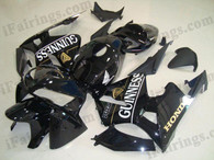 Honda CBR600RR 2005 2006 glossy black fairing kits, this Honda CBR600RR 2005 2006 plastics was applied in glossy blackgraphics, this 2005 2006 CBR600RR fairing set comes with the both color and decals shown as the photo.If you want to do custom fairings for CBR600RR 2005 2006,our talented airbrusher will custom it for you.