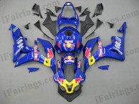 Honda CBR600RR 2007 2008 red bull fairing kits, this Honda CBR600RR 2007 2008 plastics was applied in red bullgraphics, this 2007 2008 CBR600RR fairing set comes with the both color and decals shown as the photo.If you want to do custom fairings for CBR600RR 2007 2008,our talented airbrusher will custom it for you.