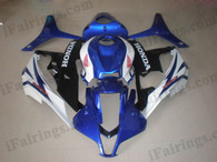 Honda CBR600RR 2007 2008 blue, white and black fairing kits, this Honda CBR600RR 2007 2008 plastics was applied in blue, white and blackgraphics, this 2007 2008 CBR600RR fairing set comes with the both color and decals shown as the photo.If you want to do custom fairings for CBR600RR 2007 2008,our talented airbrusher will custom it for you