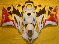 Honda CBR600RR 2007 2008 red and white fairing kits, this Honda CBR600RR 2007 2008 plastics was applied in red and whitegraphics, this 2007 2008 CBR600RR fairing set comes with the both color and decals shown as the photo.If you want to do custom fairings for CBR600RR 2007 2008,our talented airbrusher will custom it for you