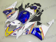 Honda CBR600RR 2007 2008 Rothmans fairing kits, this Honda CBR600RR 2007 2008 plastics was applied in Rothmansgraphics, this 2007 2008 CBR600RR fairing set comes with the both color and decals shown as the photo.If you want to do custom fairings for CBR600RR 2007 2008,our talented airbrusher will custom it for you