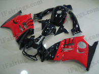 Honda CBR600 F3 1995 1996 red and black fairing kits, 1995 1996 Honda CBR600 F3 red and black plastic.This Honda CBR600 F3 1995 1996 fairing kits was applied in red and black graphics, this 1995 1996 CBR600 fairing set comes with the both color and decals shown as the photo.If you want to do custom fairings for CBR600 F3 1995 1996,our talented airbrusher will custom it for you.