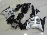 Honda CBR600 F3 1995 1996 silver/black fairing kits, 1995 1996 Honda CBR600 F3 silver/black plastic.This Honda CBR600 F3 1995 1996 fairing kits was applied in silver/black graphics, this 1995 1996 CBR600 fairing set comes with the both color and decals shown as the photo.If you want to do custom fairings for CBR600 F3 1995 1996,our talented airbrusher will custom it for you