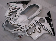 Quality fairing kits for 1999 2000 Honda CBR600 F4 with white_black flame scheme, this replacement fairings sets are oem comparable and fast shipping world-wide.